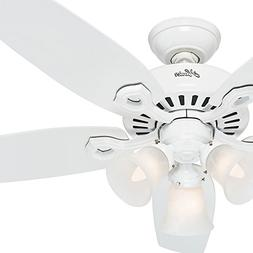 "Hunter 52"" Snow White Ceiling Fan - Three-Light Fitter with"