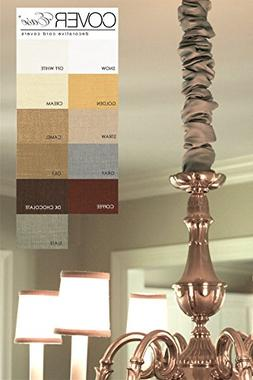 Straw 4ft Chandelier Chain Cover Cover Faux Silk Light Tan *