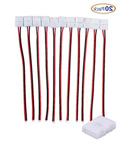 Conwork 20-Pack 2 Pin 8mm LED Strip Connector Kits for Strip
