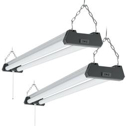 Sunco 2 Pack Industrial LED Shop Light Frosted 40W 6000K 400