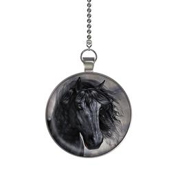 The Black Horse Ceiling Fan / Light Pull Pendant with Chain