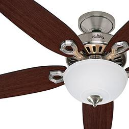 """Hunter Fan 52"""" Traditional Brushed Nickel Ceiling Fan with C"""