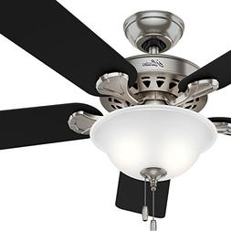 "Hunter Fan 52"" Traditional Ceiling Fan in Brushed Nickel wit"