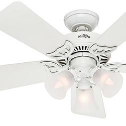 """Hunter Fan 42"""" Traditional White Ceiling Fan with Three-Ligh"""