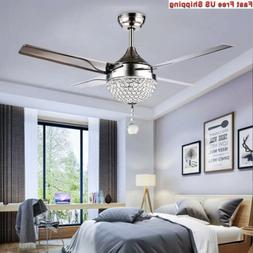 Tropicalfan Crystal Modern Ceiling Fan Remote Control Home D
