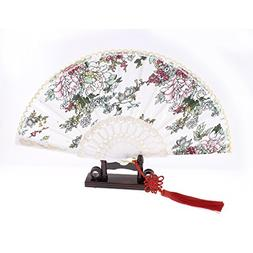 U Ring Hanger Hollow Out Frame Chinese Knot Hand Fan w Holde