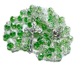 Unique Green Crystal Beads Rosary Catholic Necklace Holy Soi