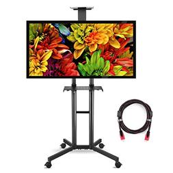 Suptek Rolling TV Cart Mobile TV Mount Stand with Wheels and