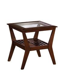 Furniture of America Vedison Transitional Glass-Top End Tabl
