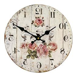 MagiDeal Vintage Wall Clock Rustic Shabby Chic Home Kitchen