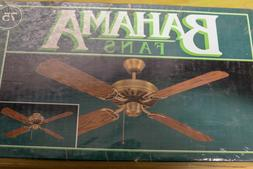 "Vtg 1990s Bahama Fans 52"" Ceiling Fan -Antique Brass w Oak F"