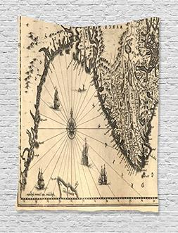 Wanderlust Decor Tapestry by Ambesonne, Ancient Map of South