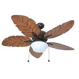"52"" Ceiling Fan with Light Kit Indoor Outdoor Downrod Bronze"