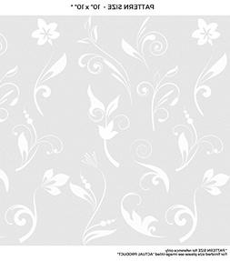 WindowPix 24 x 48 White Abstract Fleur Design Frosted Window