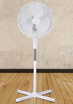 "White 16"" High Velocity Fan 3-Speed Oscillating Standing Flo"