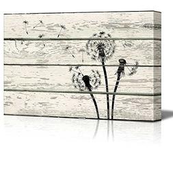 Wall26 - Dandelion in Wind Artwork - Rustic Canvas Wall Art