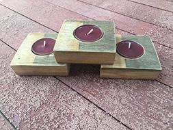 Wine Barrel Tealight holder with Red Cabernet scented candle