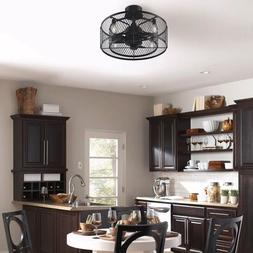 Wire Caged Ceiling Fan and Light Fixture Set Black Small Ind