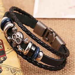 Top Sale Women Men Gothic Skull Studded Charm Bracelets Blac