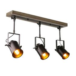 LNC Adjustable Track Industrial Wood Canopy 3-Light, for Cei